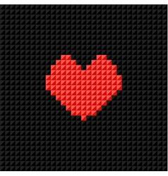 Pixel art heart on black pixel background vector