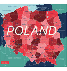 poland country detailed editable map vector image