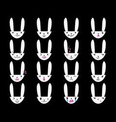 Rabbit handdrawn emoticons white 3 vector