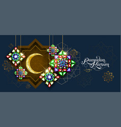 Ramadan kareem abstract girih flower encrusted vector