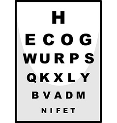 Reading chart for ophthalmologist vector