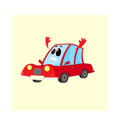 Red car auto character flinging up arms in dismay vector