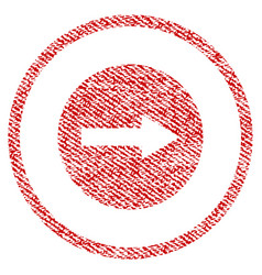 Right rounded arrow fabric textured icon vector