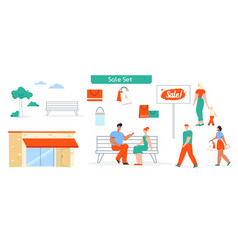 sale shop and buyers shopping isolated set vector image