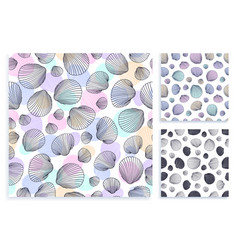 seamless set pattern hand drawn seashells vector image