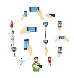 selfie icons set cartoon style vector image