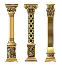Set golden decorative columns in oriental style vector