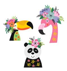 Set isolated floral toucan flamingo panda vector