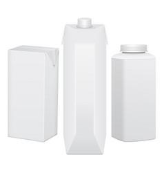 set of cardboard package for beverage juice milk vector image