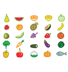 Set of simple fruits vegetables and fish vector