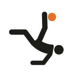 Simple overhead kick football soccer sport figure vector