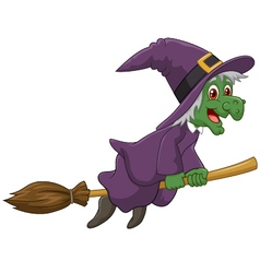 Sinister witch was riding broomstick vector