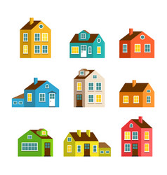 Small and big cartoon houses isolated set vector