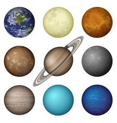 Solar system planets and moon set vector