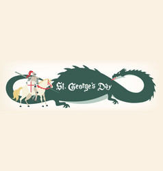st george s day card with knight and dragon vector image