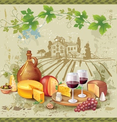 Still life of wine cheese and grapes vector