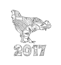 stylish cock or rooster and numbers 2017 vector image