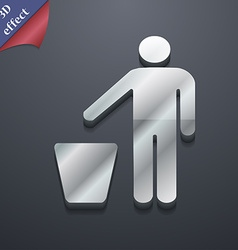 Throw away the trash icon symbol 3D style Trendy vector