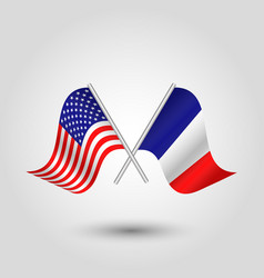 Two crossed american and french flags vector