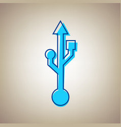 Usb sign sky blue icon with vector
