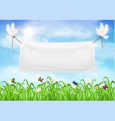 Vinyl banners backdrop with white pigeon and ropes vector