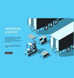 warehouse logistics concept halftone isometric vector image