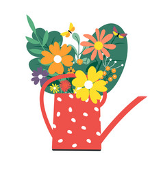 Water can with a bouquet flowers spring and vector