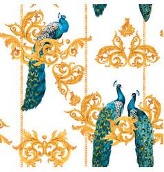 Watercolor peacock golden pattern vector