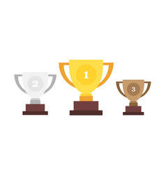 winner cup trophy cup gold silver and bronze cups vector image