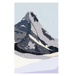 Winter north mountain landscape simple flat vector