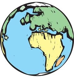 Woodcut Earth East vector