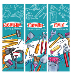 Work tools for home repair sketch banners vector