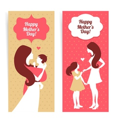 Banners of beautiful silhouette of mother and baby vector image vector image