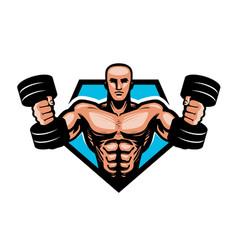 gym bodybuilding sport logo or label muscular vector image vector image