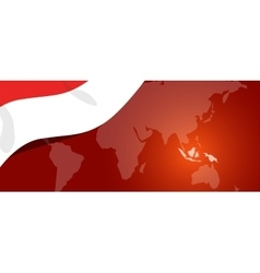 Indonesia map flag world red white location vector image