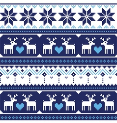 Scandynavian knitted seamless pattern with deer vector image vector image