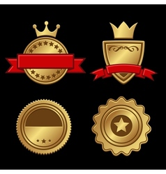 Set of Gold Badges Vintage Award vector image