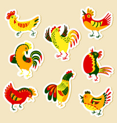 stickers set with decorative roosters isolated vector image vector image
