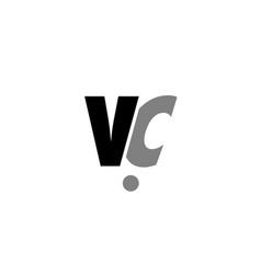 vc v c black white grey alphabet letter logo icon vector image