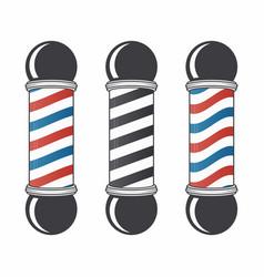 barber shop pole set vintage barber shop sign vector image