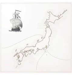 old Japan map vector image