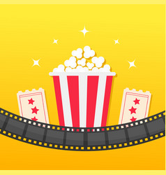 Popcorn box film strip rounded two tickets admit vector