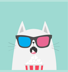white cat eating popcorn cinema theater cute vector image