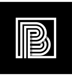 B capital letter made of stripes enclosed in a vector image vector image