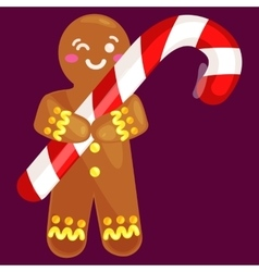 christmas cookies gingerbread man decorated with vector image