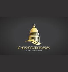 congress gold capitol icon deisgn vector image vector image