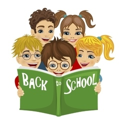 kids reading green book with back to school text vector image vector image