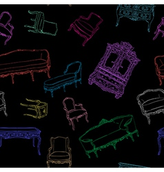 rococo furniture pattern on black vector image vector image