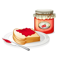 An apple jam with a sandwich in the plate vector image vector image