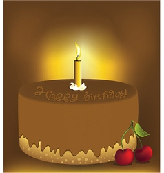 Big chocolate cake vector image vector image
